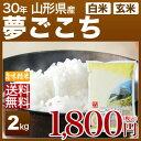山形県 夢ごこち 米 2kg 送料無料 29年産の(玄米)又は(白米/精米) 食べ比べサイズのお米