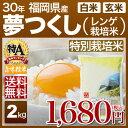 新米 30年産 福岡県 夢つくし 特別栽培米 米 2kg 送料無料 (玄米)又は(白米/精米) 食べ比べサイズのお米