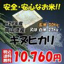 ★送料無料★H29年産 岡山県産 キヌヒカリ 玄米 30kg or 白米 27kg