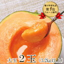 【ふるさと納税】【2022年出荷予約】北海道産赤肉メロン大玉 2玉