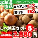 越冬じゃがいも 北海道産 じゃが玉セット キタアカリ3kg(LMサイズ)&玉ねぎ2kg(Lサイズ)合計5kg【お届け日時指定可 ジャガイモ きたあかり キタアカリ 北海道産野菜 イモ 玉ねぎ セット】