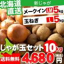 お歳暮 野菜セット ギフト北海道産 じゃがいも じゃが玉セット メークイン5kg(LMサイズ)&玉ねぎ5kg(Lサイズ)合計10kg【お届け日時指定可 ジャガイモ メイクイン 北海道産野菜 玉ねぎ セット】