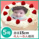 写真ケーキ(丸) 5号 生クリーム【冷凍 到着後は冷蔵庫で3〜4時間保管解凍】 誕生日ケ-キ 15cm