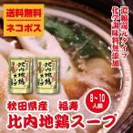 送料無料 ネコポス 福寿 秋田県産比内地鶏スープ2パック(1パック4〜5人前)希釈タイプ