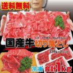 送料無料 国産牛切り落とし 1kg 338g×3パック 冷凍品 2セット以上ご購入でおまけ付き しゃぶしゃぶ すき焼き 焼肉 切落し 訳あり メガ盛り