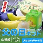 遅れてごめんね 父の日ギフト 静岡県産 クラウンメロン 山等級 1玉 約1.2kg 送料無料