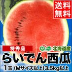 2019年ご予約承り中 7月出荷開始 送料無料 北海道共和町産 らいでんすいか(特秀品 M〜L 3.5kg以上)/ 北海道産 直送