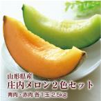 【値引き】ギフト メロン 送料無料 山形県産 赤肉 青肉 オレンジ 緑 庄内メロン 2.5kg(各1玉) 食べ比べセット