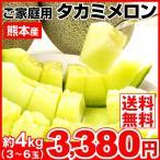 メロン 約4kg 熊本県産 ご家庭用 タカミメロン 青肉メロン 果物 食品