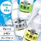 炭酸水 国産 強炭酸水 500ml 48本 (24本×2)   プレーン レモン まとめ買い 完全国産 スパークリングウォーター 友桝飲料
