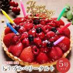 誕生日ケーキ バースデーケーキ  宅配 いちご フルーツ たっぷり メッセージ 面白い 子供 本州 送料無料 トリプルベリー タルト 5号