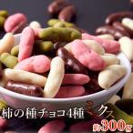 ポイント消化 チョコレート 柿の種 チョコミックス 4種 300g ミルクチョコ ストロベリーチョコ ホワイトチョコ 抹茶チョコ 送料無料