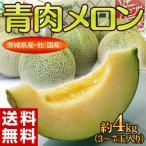 メロン 茨城県産・他 青肉メロン 3〜7玉 約4kg ※常温 送料無料