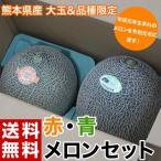 熊本県産 大玉 赤肉・青肉メロンセット 各1玉(赤肉:クインシー 約1kg 青肉:肥後グリーン約1.3kg) 常温 送料無料