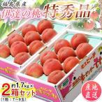 桃 果物 詰め合わせ 福島県産 伊達の桃 特秀品 約1.5kg×2箱[1箱5〜10玉] 送料無料